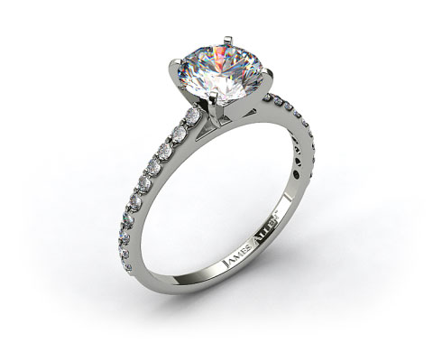 14k White Gold 0.30ct Common Prong Round Shaped Diamond Engagement Ring